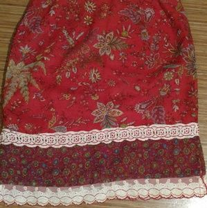 Free People Red Floral and Lace Skirt